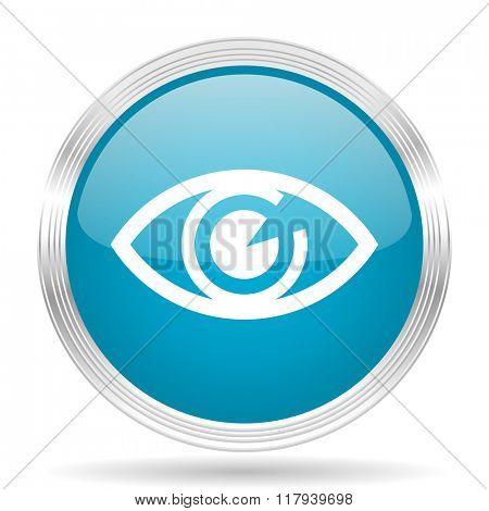 eye blue glossy metallic circle modern web icon on white background