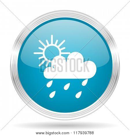 rain blue glossy metallic circle modern web icon on white background