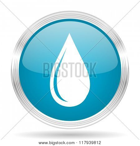water drop blue glossy metallic circle modern web icon on white background