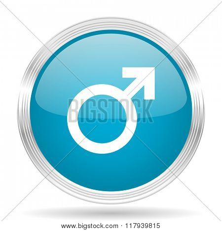 male blue glossy metallic circle modern web icon on white background