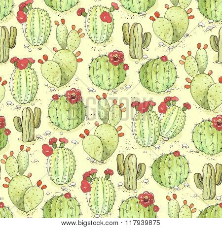 Seamless pattern of blooming green cactus on light yellow background with sand and stones, illustration in vintage style.