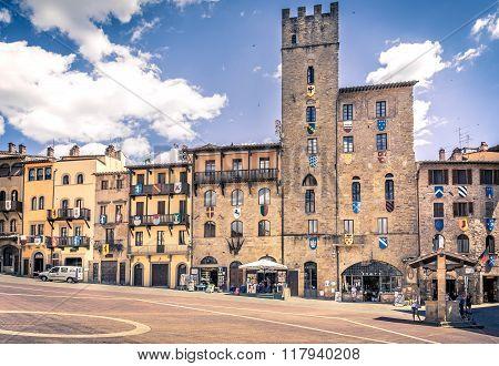 Piazza Grande The Main Square Of Tuscan Arezzo City, Italy