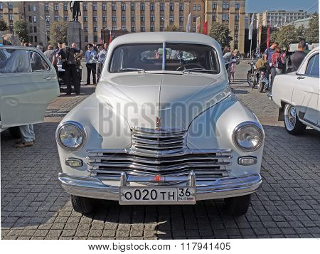 Soviet Executive Car Of 1950S Fastback Gaz-m20 Pobeda Front View
