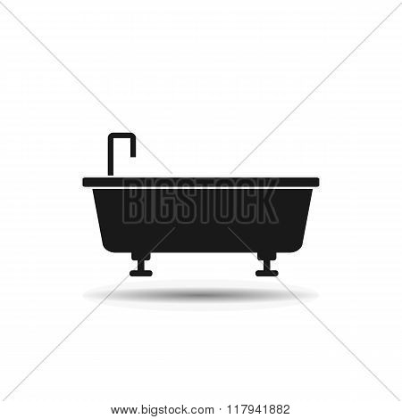 tub with faucet black icon