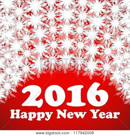 Happy New Year 2016 celebration flyer banner poster or invitation with stylish text on snowflakes
