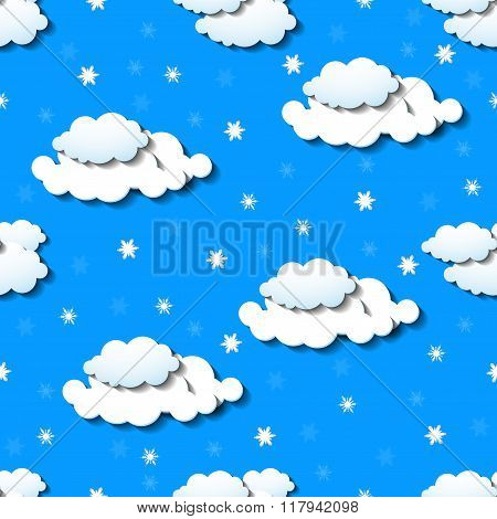 Seamless wallpaper with clouds and snowflakes
