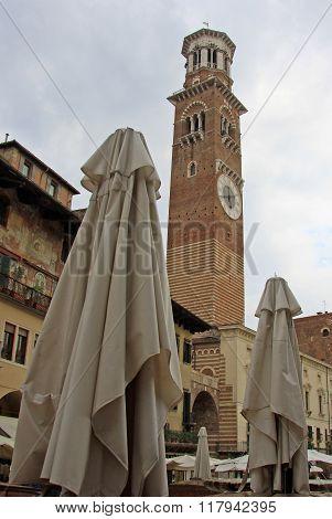 Verona, Italy - September 03, 2012: Lamberti Tower On Piazza Delle Erbe In Verona, Italy