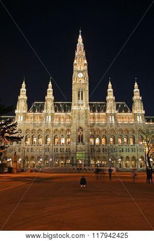 Vienna, Austria - April 22, 2010: Vienna's City Hall At Night