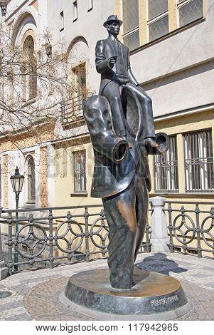 Prague, Czech Republic - April 25, 2010: Franz Kafka Monument At The Spanish Synagogue In Prague