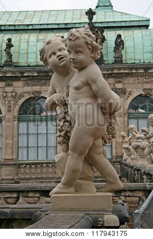 Dresden, Germany - April 27, 2010: Statues At Zwinger Palace In Dresden, Germany