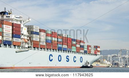 Cargo Ship Cosco Guangzhou Entering The Port Of Oakland.