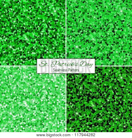 Set Of Green Glitter Seamless Patterns.