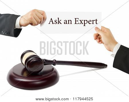 Wooden judges gavel on table in a courtroom or law enforcement office. Lawyer Hands holding business