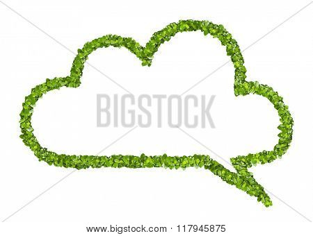 Cloud speech icon from the green grass. Isolated on white