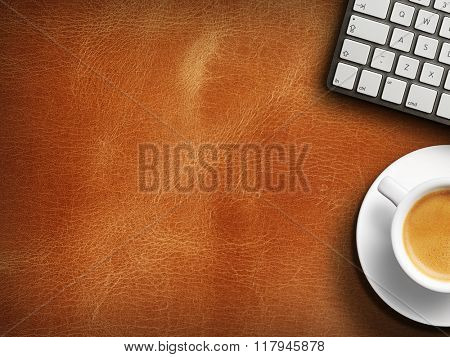 Coffee mug on the table with a keyboard. Close up