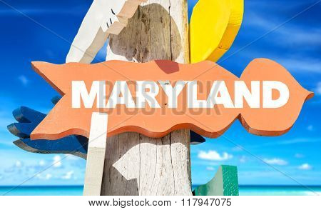 Maryland welcome sign with beach