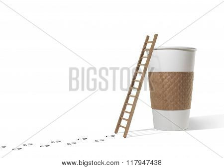 Footsteps Leading to Ladder and Coffee Cup