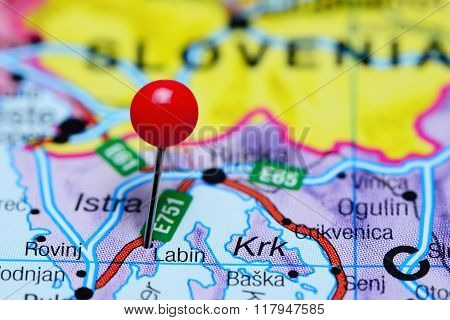 Labin pinned on a map of Croatia