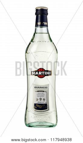CHISINAU MOLDOVA - December 25 2015 : Martini a famous Italian vermouth is the world's fourth most powerful alcoholic brand produced in Turin by Martini and Rossi since 1863