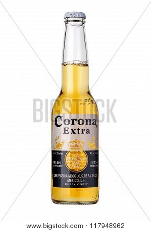 CHISINAU MOLDOVA - January 04 2016: Photo of a bottle of Corona Extra Beer. Corona produced by Grupo Modelo with Anheuser Busch InBev is the most popular imported beer in the US.