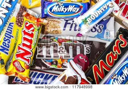 CHISINAU MOLDOVA - November 12 2015: A pile of various chocolate bars which some can be found in moldavian and some international.