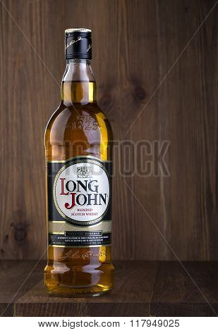 CHISINAU MOLDOVA - February 05 2016.Long John is a blended Scotch whisky carefully produced in the Scottish Highlands.