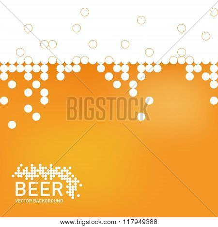 Beer foam background, stylized bubble. Vector