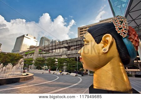 BANGKOK, THAILAND - NOVEMBER 25, 2009: Sculpture of Indian woman's head, dedicated to the 80th Birthday of His Majesty King Bhumibol Adulyadej from India-Thai chamber of commerce