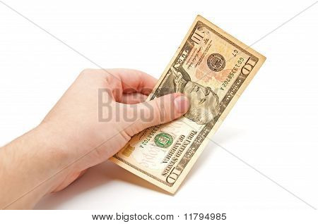 Hand Holds A 10 Dollar Bill