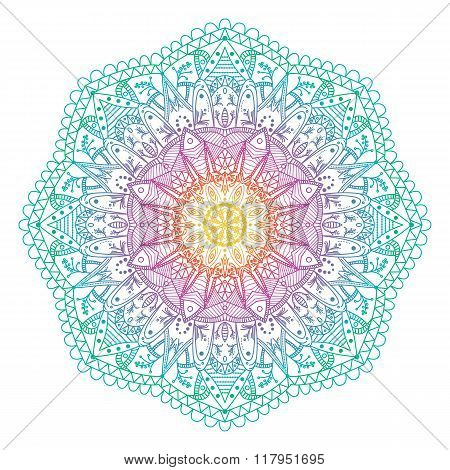 Vector Abstract Radial Indian Symbol.