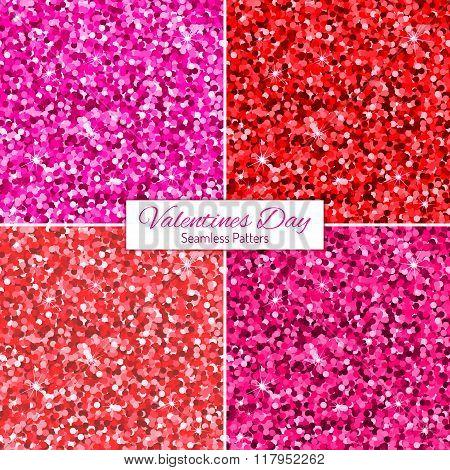 Set Of Pink Glitter Seamless Patterns.