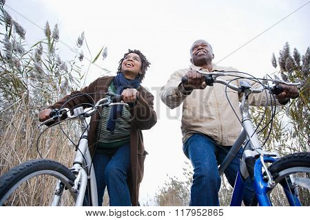 One couple cycling