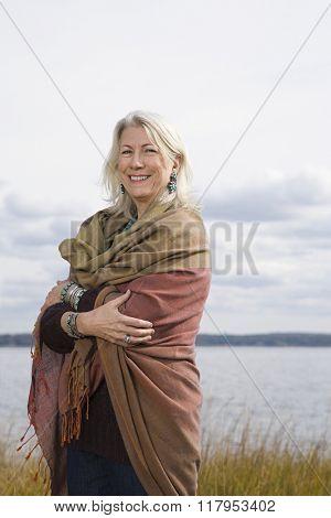 Senior woman wearing a shawl