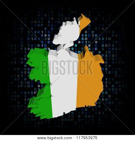 Ireland map flag on hex code illustration