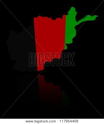 Afghanistan map flag with reflection illustration