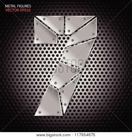 Metal Figures Seven Vector On Aluminum Background