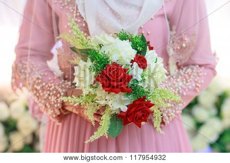 Wedding bouquet. Bouquet of fresh flowers for the wedding ceremony. Traditional Malay Wedding Custom