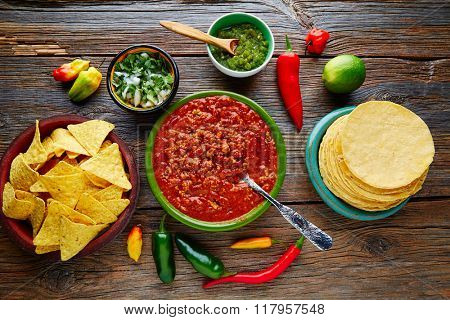 Chili with meat platillo Mexican food with sauces
