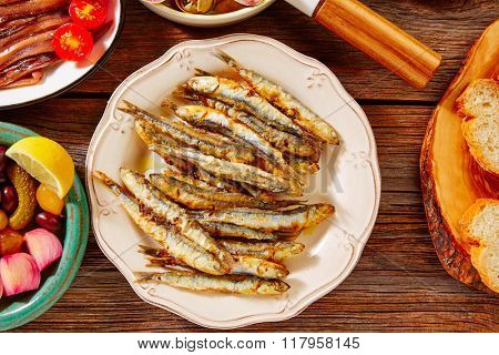 Tapas seafood fried anchovies fish from Spain