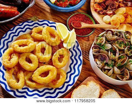 Tapas calamari romana squid rings seafood from Spain