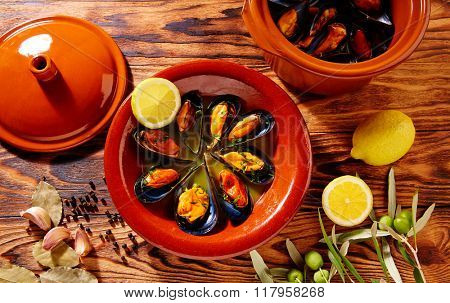 Tapas mejillones al vapor steamed mussels from Spain