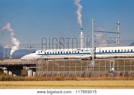 Shizuoka - DEC 19: Shinkansen bullet train and Mountain Fuji on DEC 19,2015 , Shizuoka ,Japan. Shinkansen is world's busiest high-speed railway operated by four Japan Railways companies.
