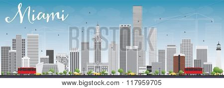 Miami Skyline with Gray Buildings and Blue Sky. Business Travel and Tourism Concept with Modern Buildings. Image for Presentation Banner Placard and Web Site.