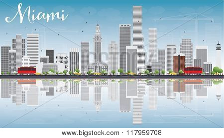 Miami Skyline with Gray Buildings, Blue Sky and Reflections. Business Travel and Tourism Concept with Modern Buildings. Image for Presentation Banner Placard and Web Site.