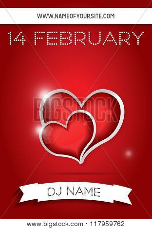 Happy Valentines Day Party Flyer Design Template. Club Flyer Concept with Two Red Hearts and Copy Space.