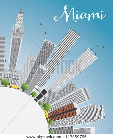 Miami Skyline with Gray Buildings, Blue Sky and Copy Space. Business Travel and Tourism Concept with Modern Buildings. Image for Presentation Banner Placard and Web Site.