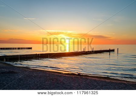 Sunset at the sea in Germany