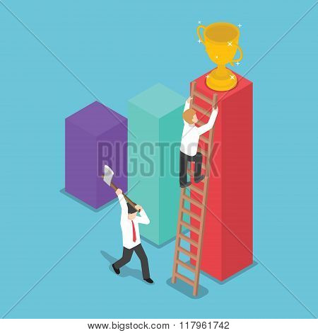 Isometric Design Businessman Destroy The Ladder Of Success Of His Rival By Using Axe