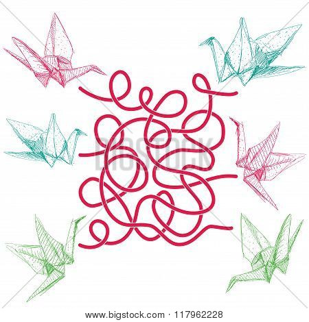 Origami paper cranes set sketch on white background. labyrinth game for Preschool Children. Vector