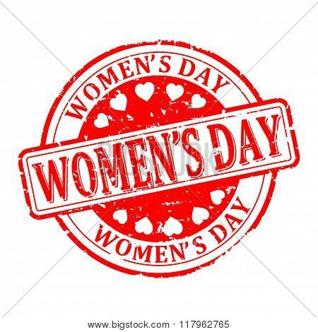 Damaged Round Red Stamped - Women's Day - Vector